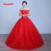 DongCMY 2019 new arrival long red color bandage Short sleeve wedding dress vestido de noiva Bridal Ball Gown