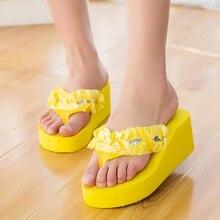 Летняя стильная обувь женские босоножки красивые в богемном стиле с цветком Женские вьетнамки на танкетке вьетнамки тапочки Пляжная обувь Z515
