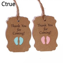 50pcs Thank you for coming Kraft Paper Tag boy Baby Shower Gift tags Packaging girl birthday Party kids DIY candy box Label(China)