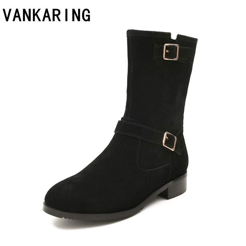 VANKARING women snow boots casual ladies autumn winter shoes riding boots suede leather ankle boots thick heeled platform boots