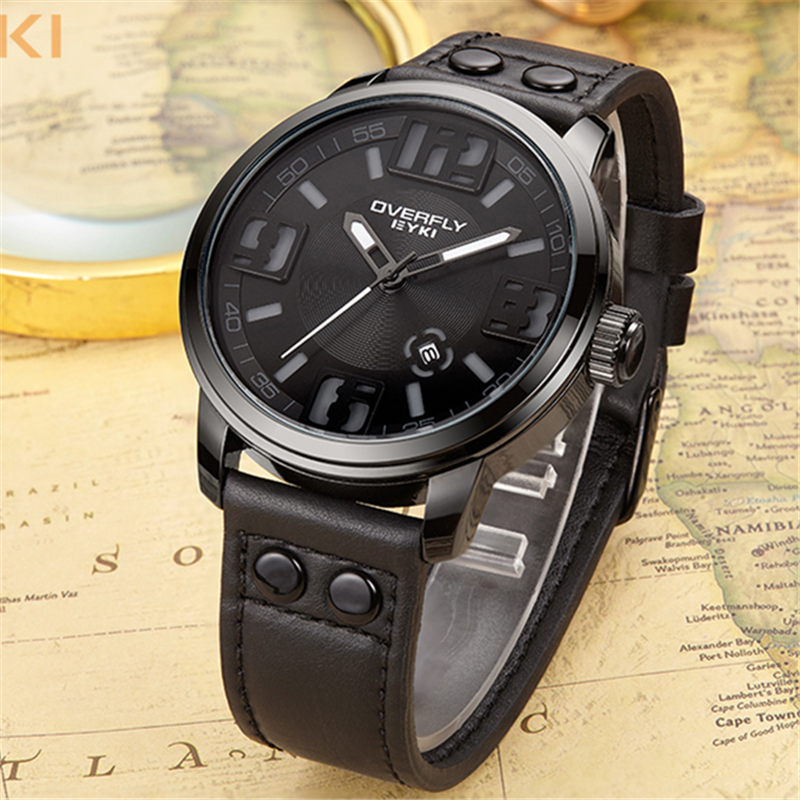 EYKI Black Large Dial Casual Watch Men 2018 Luxury Brand Quartz Military Sport Wrist Watches Fashion Male Clock Meskie Zegarki