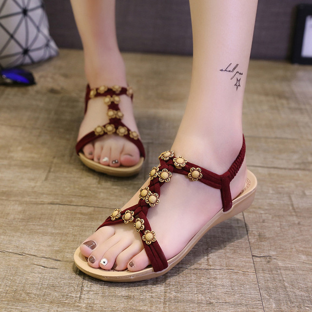 New Summer Shoes Women Sandals Flat Ladies Sandals Flip Flops Ankle-strap Beautiful Sunflower Beach shoes red black beige