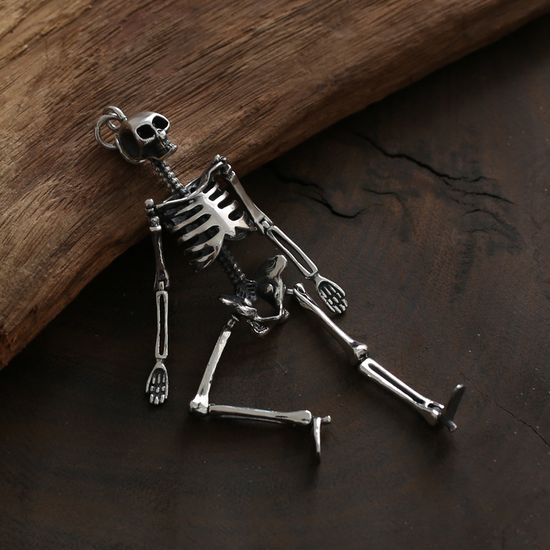FNJ Punk Skull Pendant 925 Silver Hang Original Pure S925 Thai Silver Men Pendants for Jewelry MakingFNJ Punk Skull Pendant 925 Silver Hang Original Pure S925 Thai Silver Men Pendants for Jewelry Making