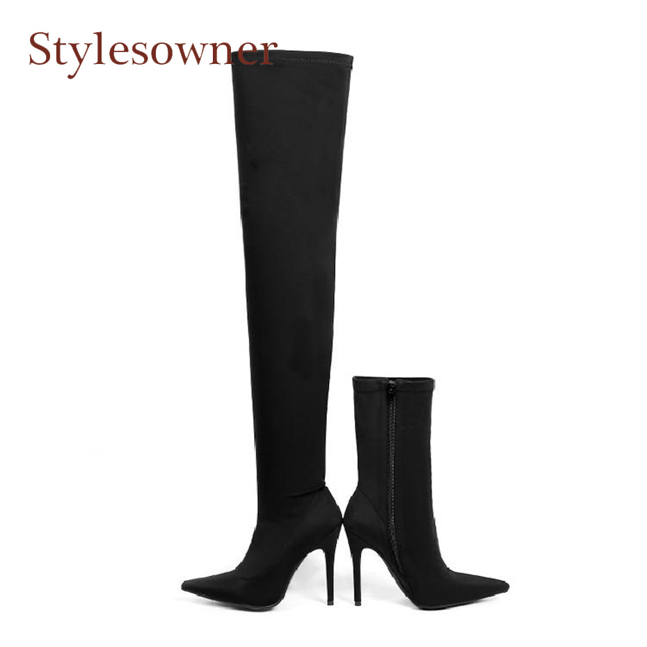 Stylesowner sexy black stretch thigh high boots women fashion pointed toe stiletto heel short boots zipper chelsea boots females
