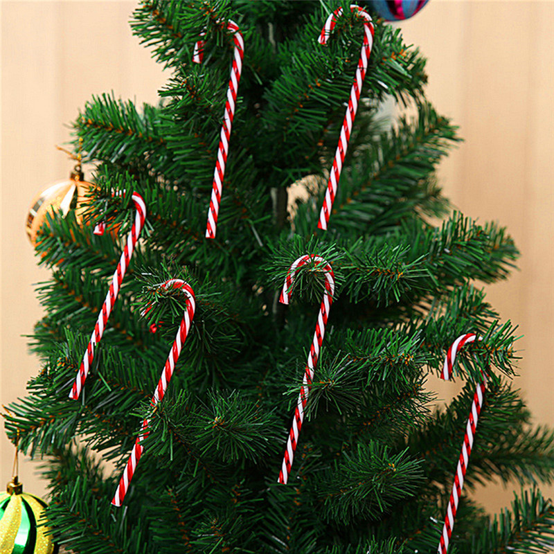 Plastic Christmas Tree.Us 1 85 19 Off 6pcs Lot Christmas Tree Ornamants Candy Canes Red And White Handmade Plastic Christmas Tree Hanging Pendant Home Xmas Tree Decor In
