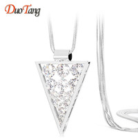 DuoTang New Romantic Luxury Triangle Zircon Pendants Fashion Top Quality Charms Silver Plated Long Necklaces Women