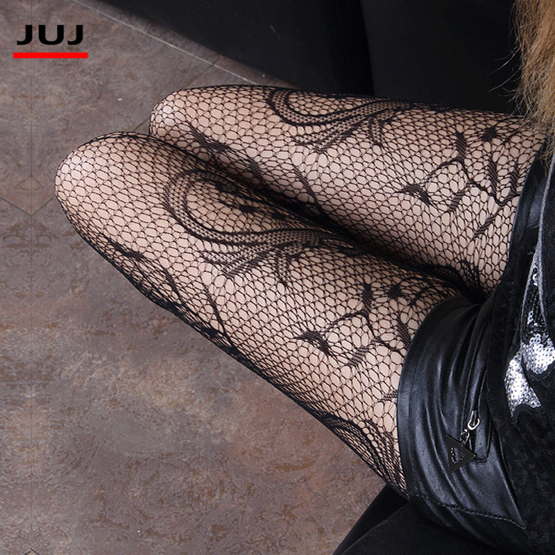 Logisch 2019 Hot Fashion Sexy Vrouwen Zwarte Netkousen Patroon Jacquard Calcetines Beenwarmers Stocking Panty Panty Het Speeksel Verversen En Verrijken