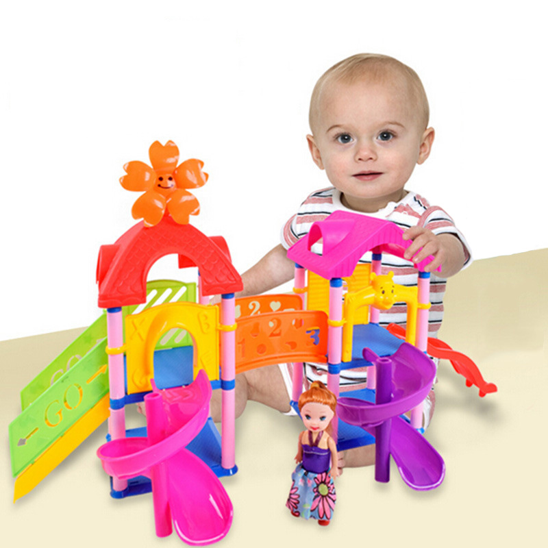 Kids DIY Colorful Rolling Track Paradise Amusement Park Slide Ladder Building Blocks with Cute Girl Doll Theme Toy Child Gift