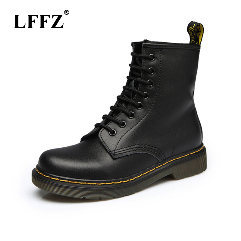 2018 Women Boots Dr Martin boots High quality split Leather shoes High Top Motorcycle Autumn Winter shoe woman snow Boots ST50