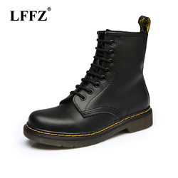 f361447794a 2018 Women Boots Dr boots High quality split Leather shoes High Top  Motorcycle Autumn Winter shoe