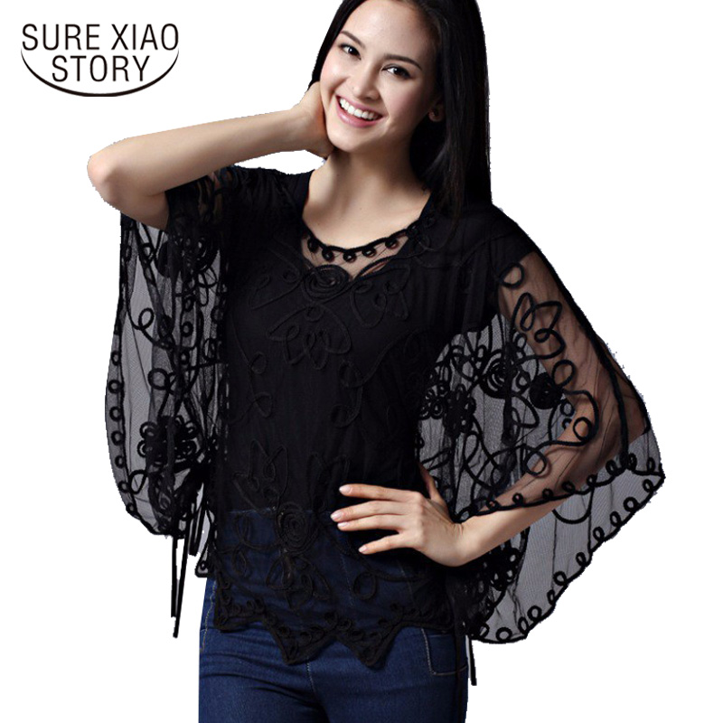 2015 das Mulheres de alta qualidade Verão Blusas Femininas Blusa Solta Oco Perspectiva de Renda Chiffon Camisa Morcego Mulheres Cardigan 803J 38