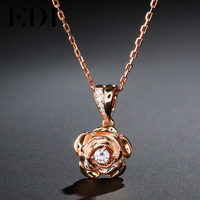 EDI Trend 3mm Round Cut Moissanite Diamond Pendant For Women Soild 14k Gold Necklace Chain Beauty and The Beast Fine Jewelry