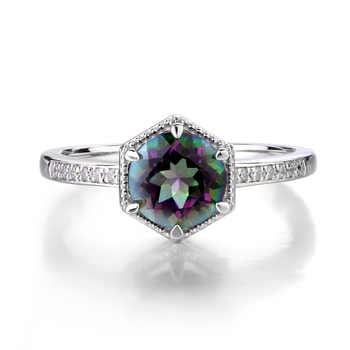 Leige Jewelry Mystic Topaz Engagement Ring Sterling Silver 925 Round Cut Gemstone Jewelry Rainbow Topaz Promise Rings