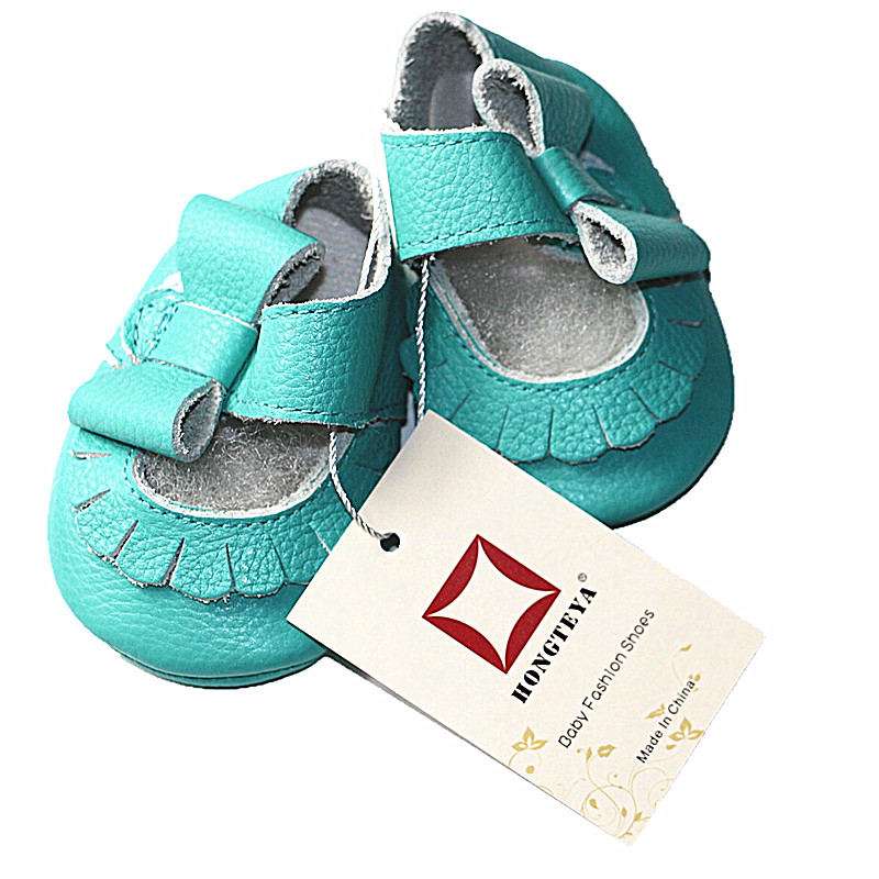 Hongteya-Hot-sale-17-colors-New-Genuine-Leather-Baby-Infant-Toddler-Moccasins-Non-slip-side-bow-mary-jane-Soft-Moccs-Shoes-5
