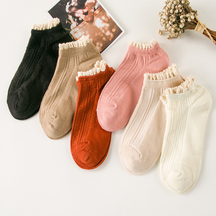 New Fashion Solid Lace Socks Wos