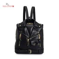 2017 New Backpack Women S Black Shoulder Bag Female Leisure Travel PU Leather Latest Fashion Decoration