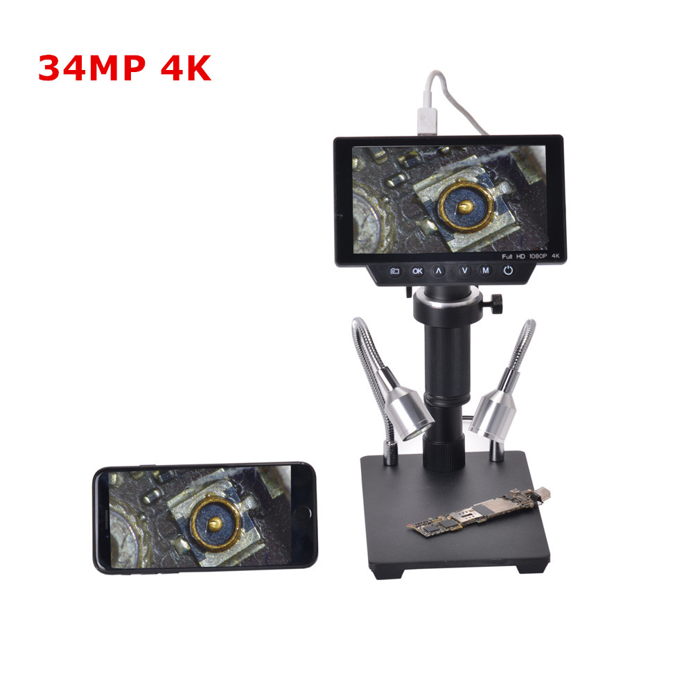 34MP 4K Soldering Microscopes Camera Industrial Maintenance Digital Display Electronic Microscope Magnifier 300X C-mount Lens
