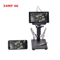 34MP 4K Soldering Microscopes Camera Industrial Maintenance Digital Display Electronic Microscope Magnifier 300X C mount Lens