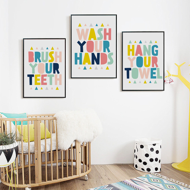 64f8f68abb6 Bathroom Colorful Letter Quotes Large Canvas A4 Art Print Poster Wall Photo  No Frame Kids Babys Room Decor Painting