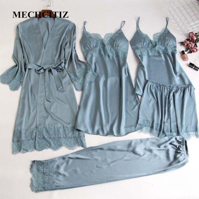 MECHCITIZ 5 pieces silk pajamas sets women satin sleepwear robe pants autumn pijamas bathrobe sexy lingerie lace winter pyjamas