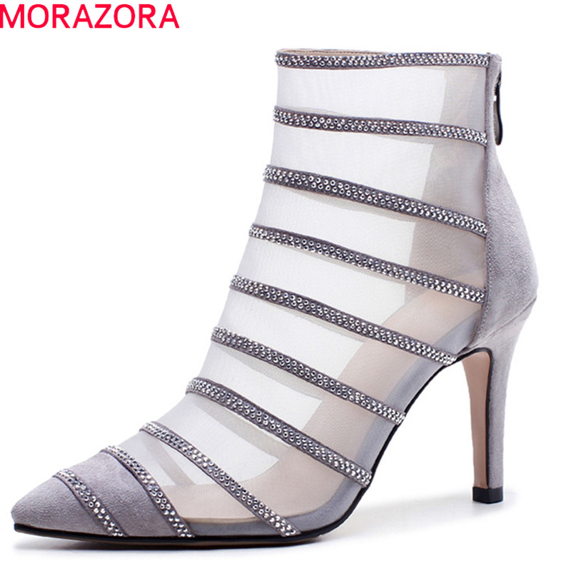 MORAZORA 2018 hot sale ankle boots for women pointed toe summer boots hollow out crystal party shoes sexy thin high heels shoes цены онлайн
