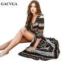 GACVGA Сексуальная сплит Богемный пейсли печати платье Женщины винтаж strappy длинное платье Лето причинно макси платье пляжа vestidos