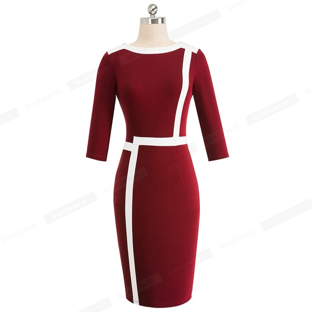 Optical Illusion ColorBlock Wear to Work vestidos Business Party Bodycon Dress