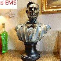 46 см гипса Соединенные Штаты Америки статуя Авраам Линкольн бюст учебных пособий смолы Книги по искусству и Craft украшения дома L2342