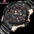Homens sport watch naviforce marca de moda homens relógio de quartzo 30 m à prova d' água banda de aço auto data relógios de pulso masculino relogio masculino