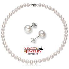 YANCEY 7-8mm White Natural Freshwater Pearl Sets For Women's 925 Sterling Silver Earrings Wedding Set Pearl Jewelry недорого