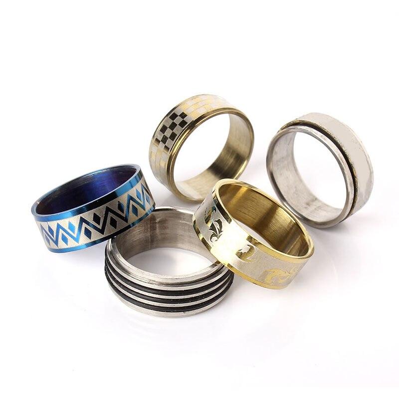 Image 3 - Оптовая продажа 100 шт смешанные стили мужские женские кольца на палец из нержавеющей стали ювелирные кольца серебряные кольца США Размер: 5,5 10 anillo de dedo-in Кольца from Украшения и аксессуары