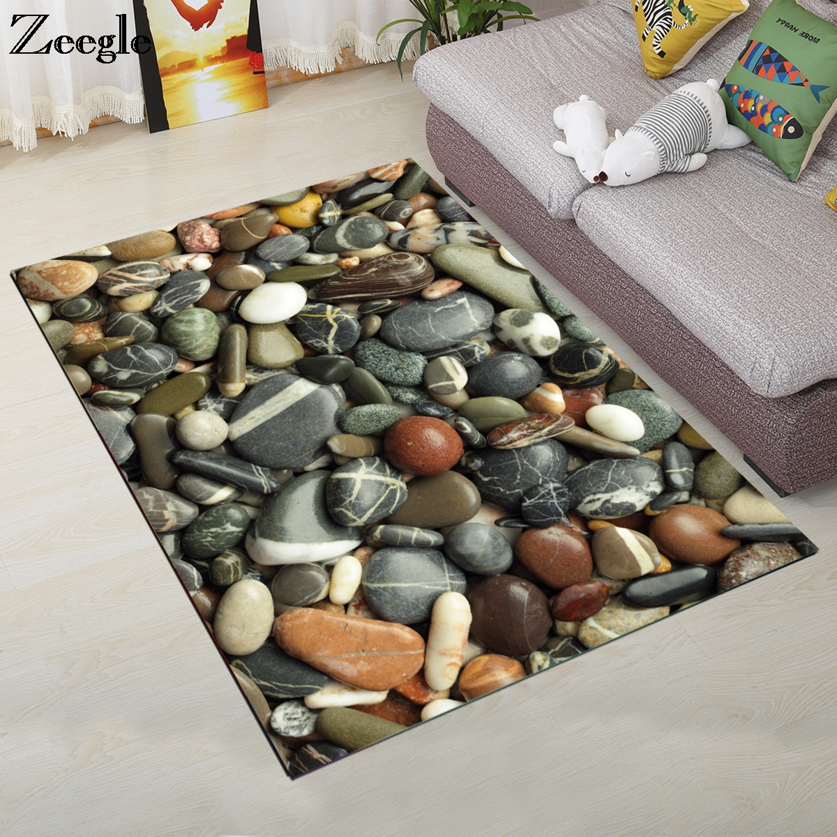 Zeegle 3D Carpet For Living Room Coffee Table Floor Rugs Non slip Children Bedroom Mats Bedside