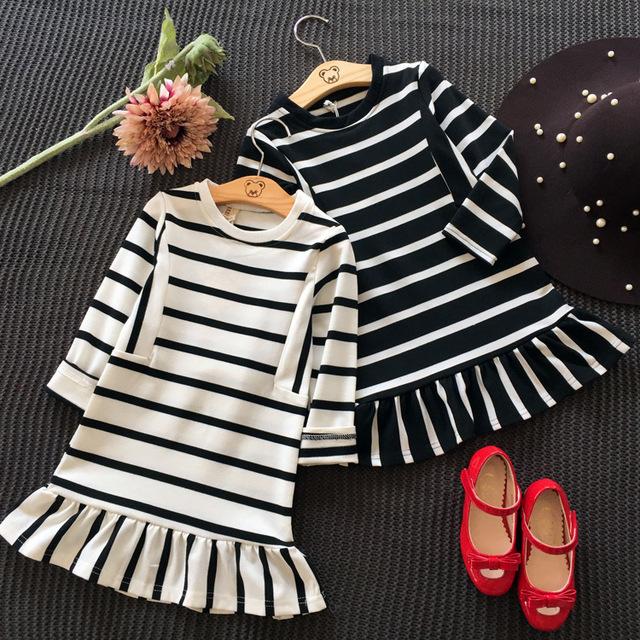 2016 Designer de Vestidos Da Menina Listrado Crianças Vestido de Algodão Para O Bebê Crianças Meninas Tira Vestidos de Criança Roupas 2-7Y Menina Dres Marca