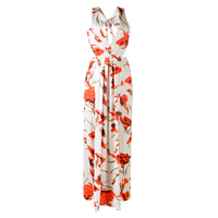TFGS Women S New Fashion Design Long Dress V Neck Floral Dress Sexy High Split Summer
