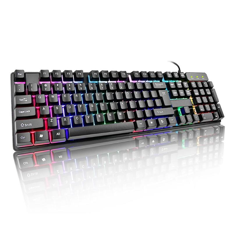 лучшая цена VODOOL 104 Key Suspension Cap Rainbow Backlit Mechanical Feel USB Wired Gaming Keyboard for Computer PC Laptop Keyboard