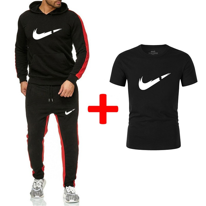 Newest Brand Tracksuit Men Streetwear Pullover Sportswear All Cotton Fleece Thick Hoodie+T Shirt+Pants 3 Piece Set Sporting Suit