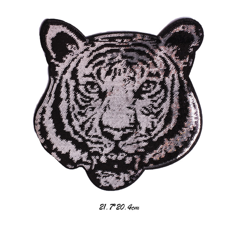 Sequin Tiger Head Applique Paillette Embroidery Patches for T shirt Jacket Garment Sewing Supplies 10 pcs lot in Patches from Home Garden