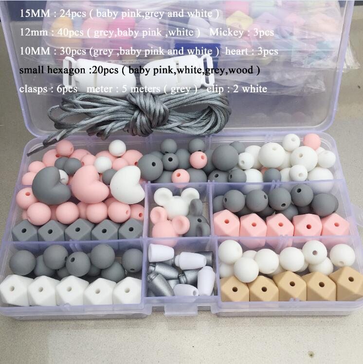 Hot Silicone Beads Pacifier Clip eco baby teething beads set nursing DIY Chew Jewelry Silicone Bead Teether set
