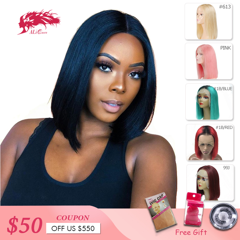 Ali Queen Hair 13X4 Short Human Hair Wigs 613/Red/Blue/Black/Purple/Pink Wig Remy Brazilian Ombre Lace Front Wig Blonde Bob Wigs(China)