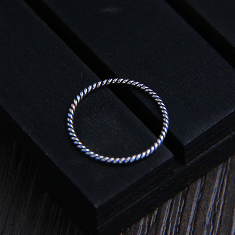 C&R Pure 925 Sterling Silver Rings For Women Twist Very Slim Female Thai Silver Tail Rings Fine Jewelry Size 4-7