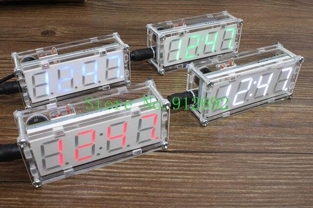 093da9697ca4 4 bits Suite de producción reloj electrónico LED reloj electrónico DIY Kit  SCM LED piezas de