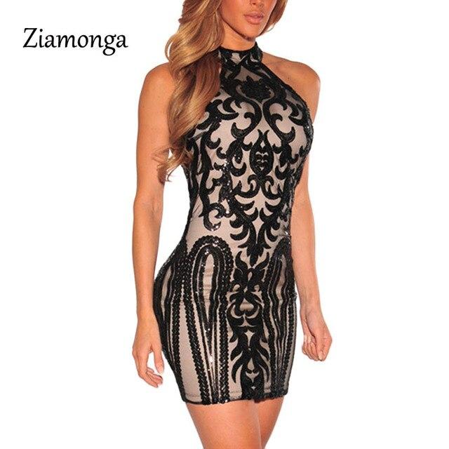 Ziamonga Vintage Handed Sequins Women Dress Summer Fashion Woman Party  Formal Dress Shining Sexy Club Dress Slim Bandage Dress 969a570db06f
