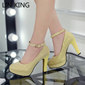 LIN KING Hot Sale Sexy Party Square High-heeled Pumps Solid PU Leather Shoes With Buckle Platform Wedding Shoes for Women