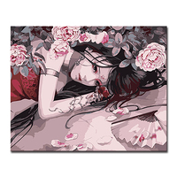 Framework DIY Oil Painting By Numbers Anime Cool Beauty Girl Kits Coloring On Canvas Pictures Handpainted