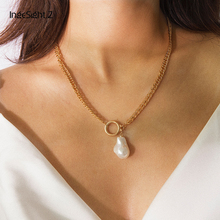 IngeSight.Z Bohemian Geometric Round Circle Choker Necklace Collar Statement Simulated Pearl Pendant Necklace Women Girl Jewelry necklace for women stainless steel jewelry pearl necklace multiple layers pendant necklace choker bohemian statement necklace