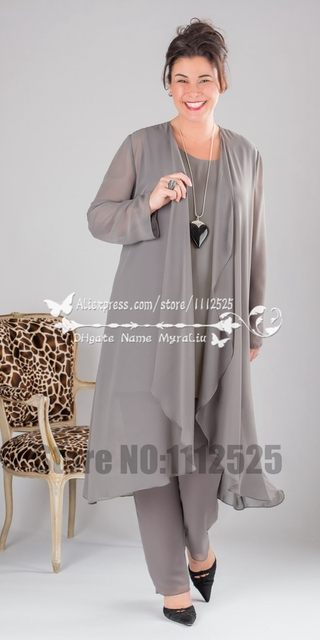 Elegant Grey Chiffon mother of the bride pant suits  dresses with long jacket Comfortable outfit Custom made Plus size