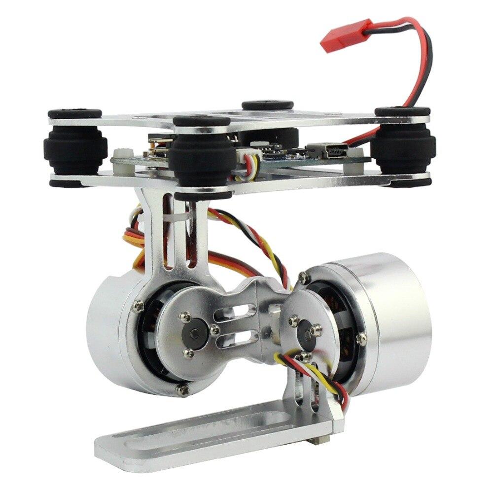 Enchufe de control de montaje de cámara cardán sin escobillas de 2 ejes de aluminio para cámaras Gopro 3/4/5/6/7/8 para Dron DJI Phantom Trex 500/550