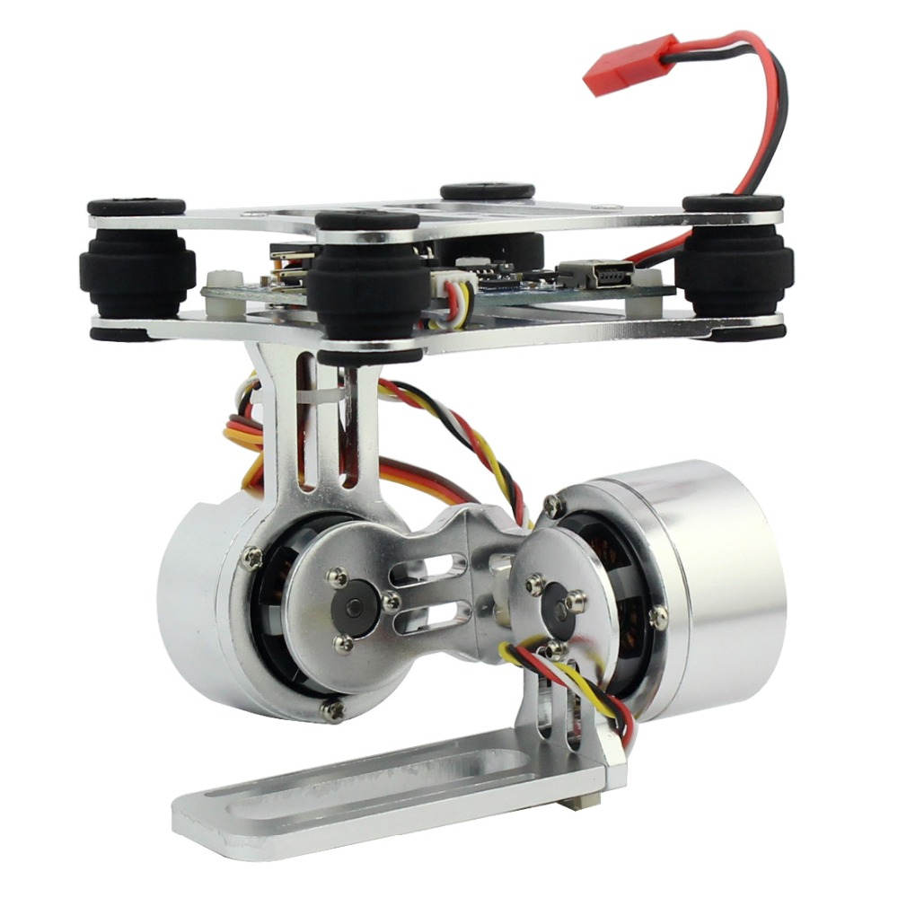 Prise de contrôle de montage de caméra à cardan sans balai à 2 axes en aluminium pour caméras Gopro 3 3 + pour Drone DJI Phantom Trex 500/550 sans manuel