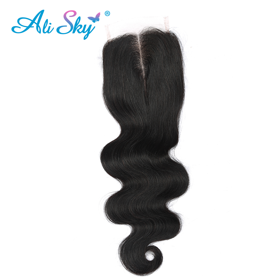 [Ali Sky] Hair Brazilian Body Wave Hair Lace Closure 4*4 Middle Part Closure 100% Human Hair Shipping Free natural black 1b