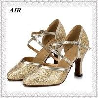 Gümüş Kadın Salsa Balo Salonu Tango Ayakkabıları İspanya Sivri Burun Altın Latin Dans Ayakkabıları Yumuşak Taban Payetli Kumaş Rahat Customiez